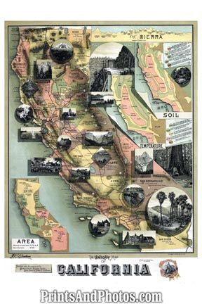 California Birds Eye View 1890s Map 6505