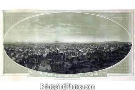 LOS ANGELES 1800s Birds Eye View  6507