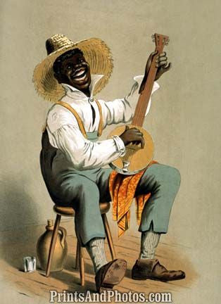 Plantation Banjo Player Print 6879