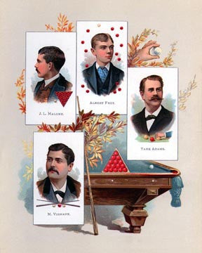 Early Billiards Champions Art Litho  7192