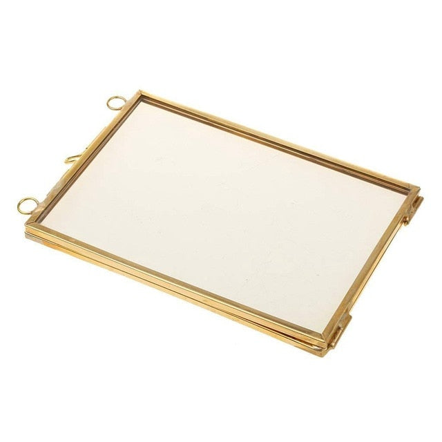 Vintage Hanging Metal Photo Frame + Glass and 2 Glass Side gold + transparent