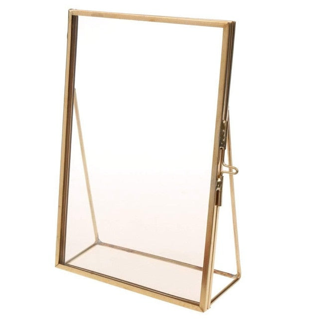 Simple Photo Frame Antique Brass Glass Picture Photo Frame Portrait Free Stand Quality Gift for Wedding Friends Home Decoration