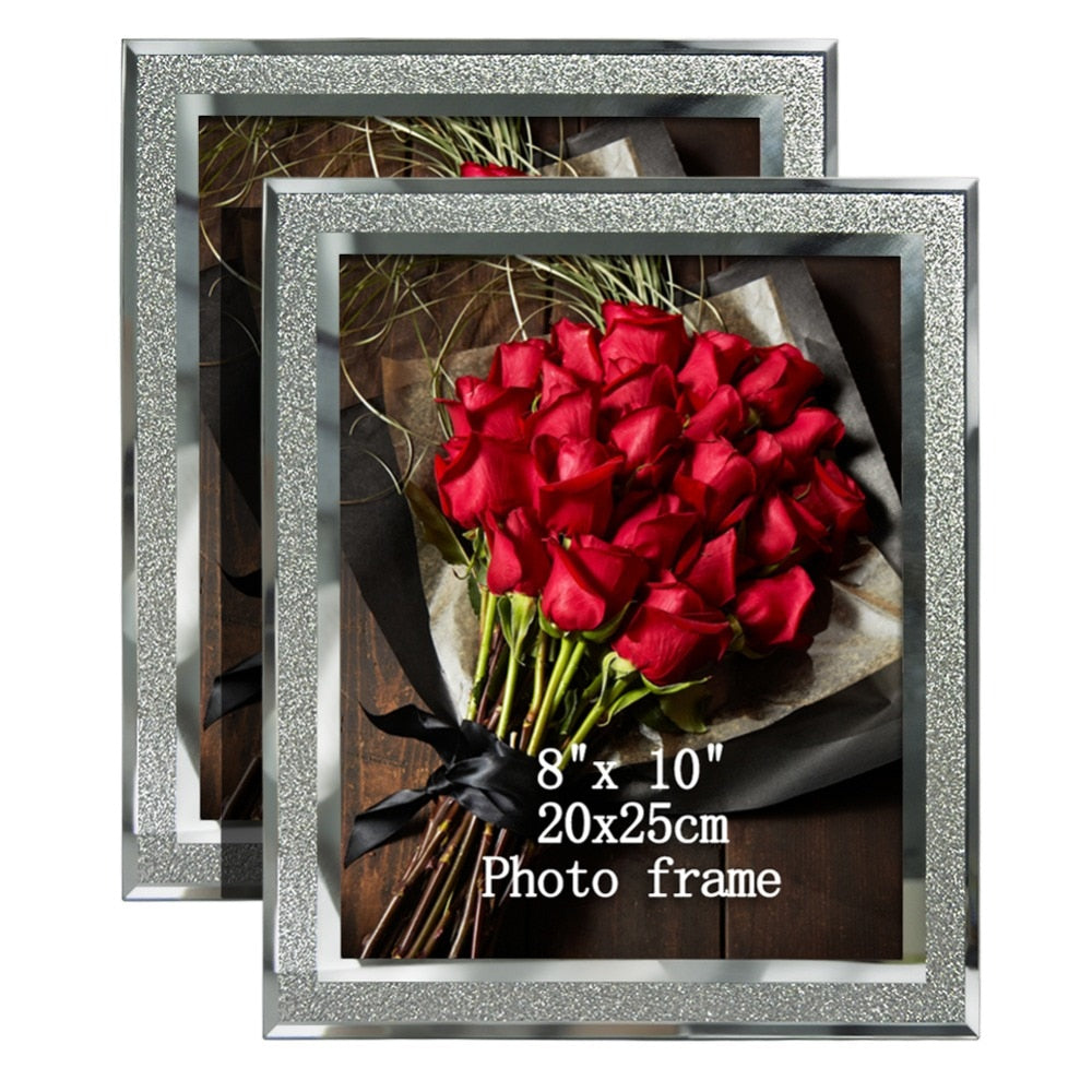 "Giftgarden  8x10"" Glass Frames with Silver Side Picture Frame Sets Home DecorTable Ornaments, Set of 2Pcs"