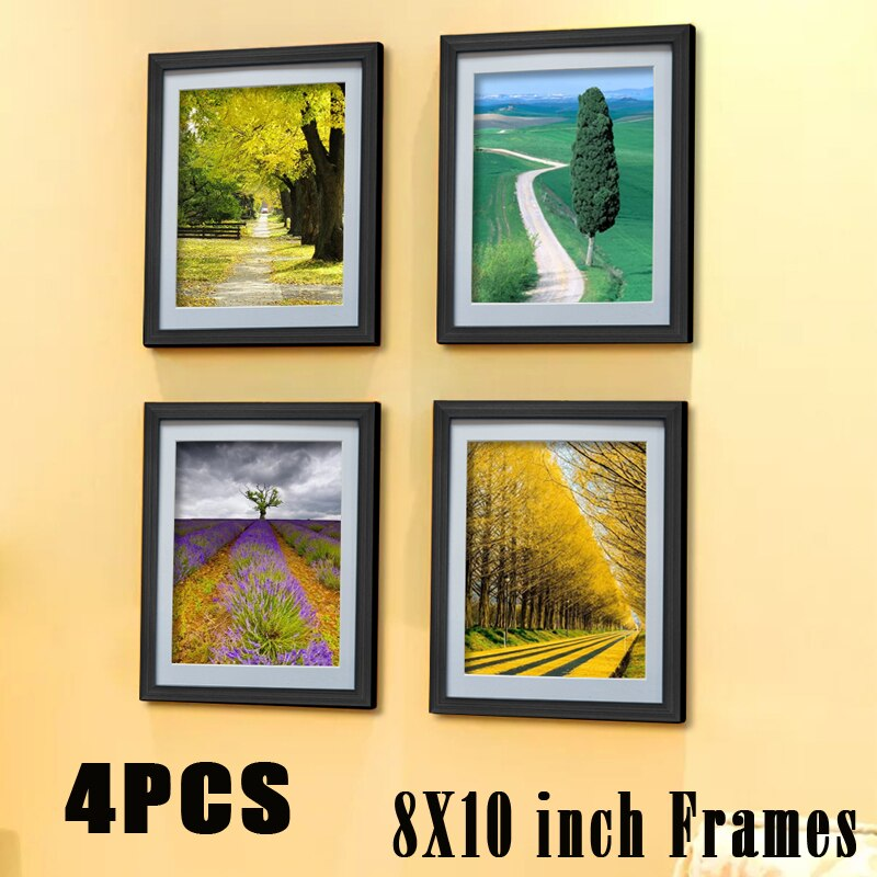 "Giftgarden 8x10"" Black  Picture Frame Set Wall Photo Frame  Set Home Decoration  Set of 4 Pcs"