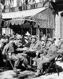 WWII Soldiers at Outdoor Cafe  3206