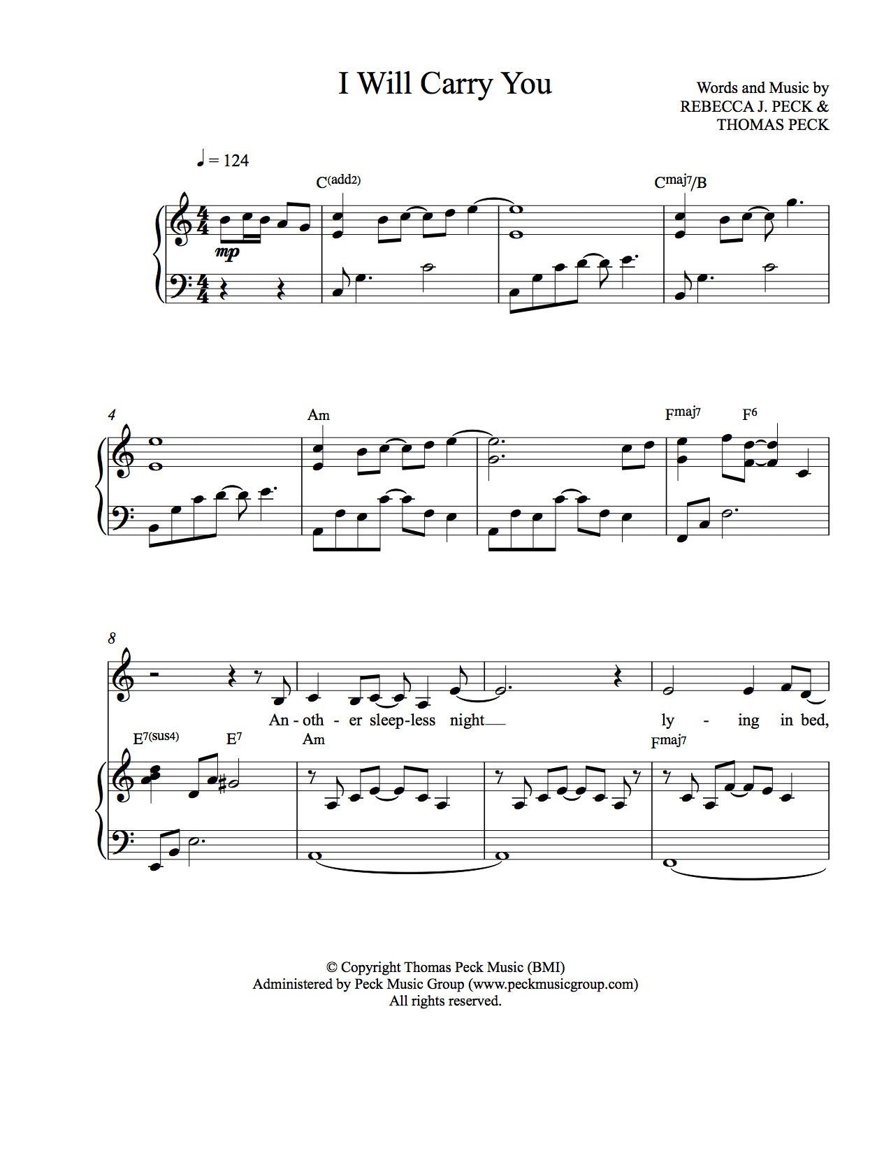 I Will Carry You - sheet music (downloadable PDF) | Peck Music ...