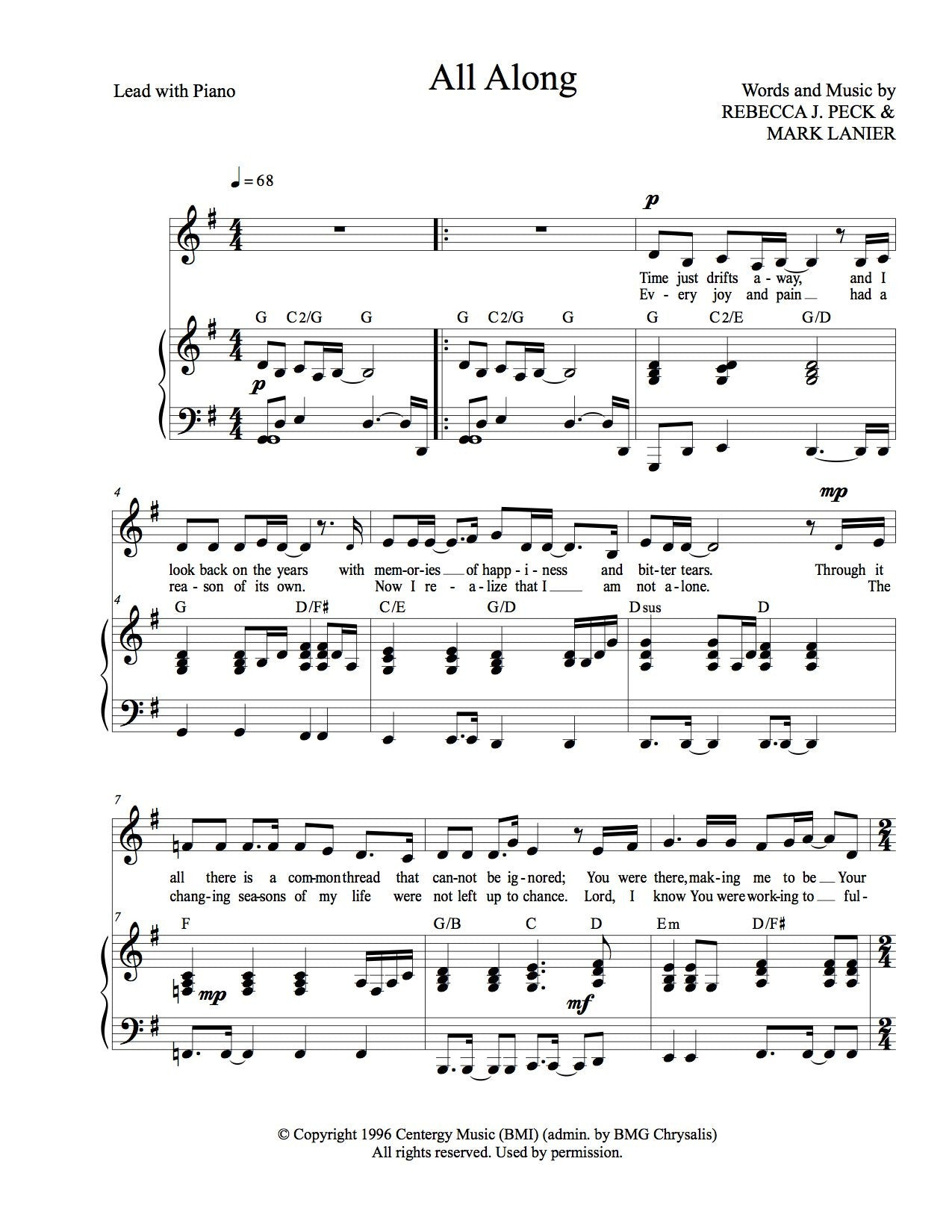 All along sheet music peck music publishing for Piano house anthems