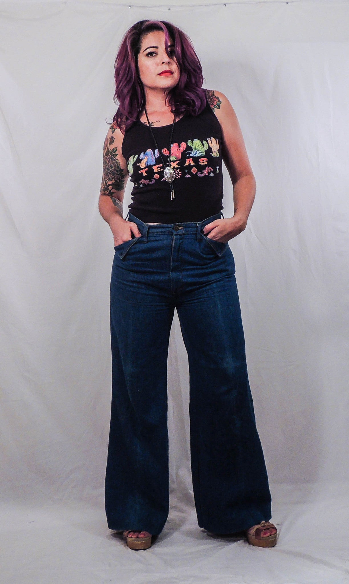 'Girl Power' Hand Embroidered Bell Bottoms
