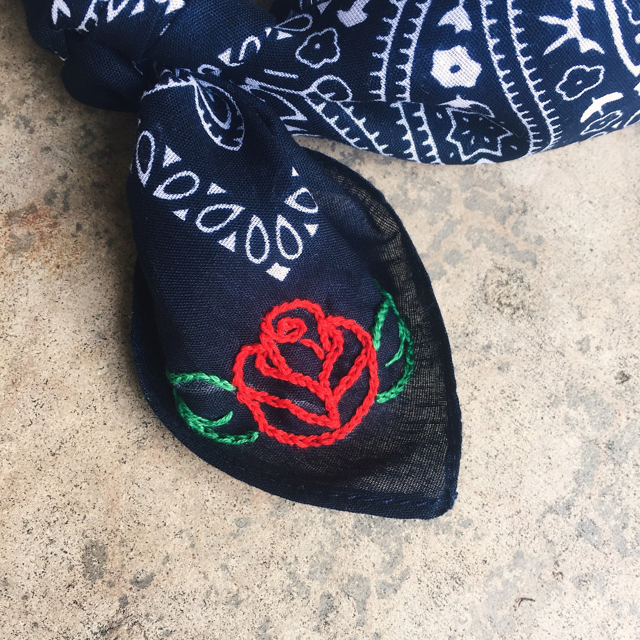 Red Rose Embroidered Bandana
