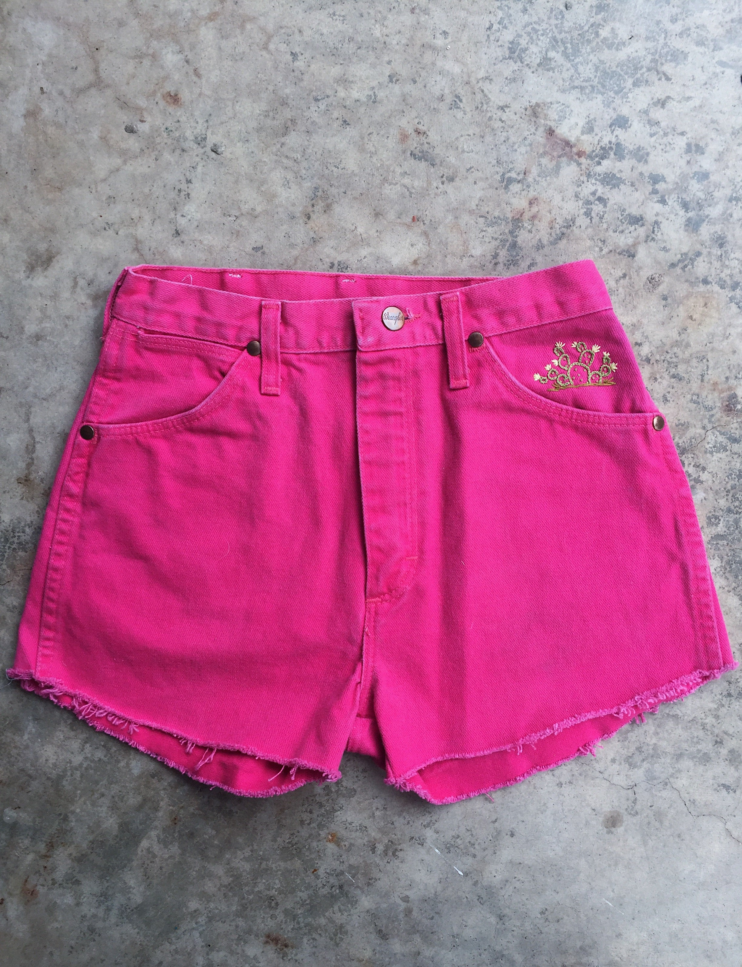 Pink Wrangler with Prickly Pear Cactus Embroidery. Sz 27