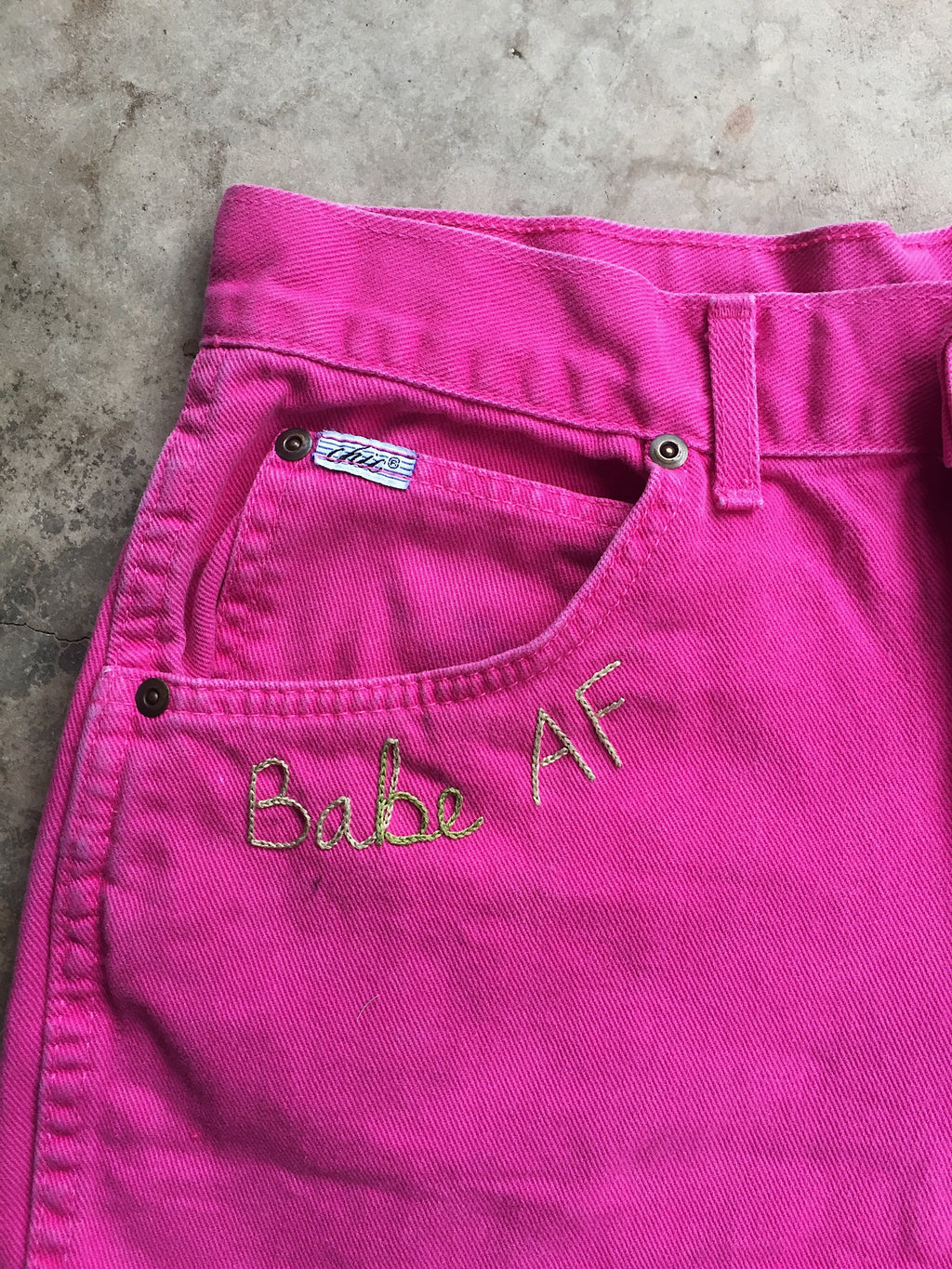 Pink Chic Cutoffs with BabeAF Embroidery. Sz 28