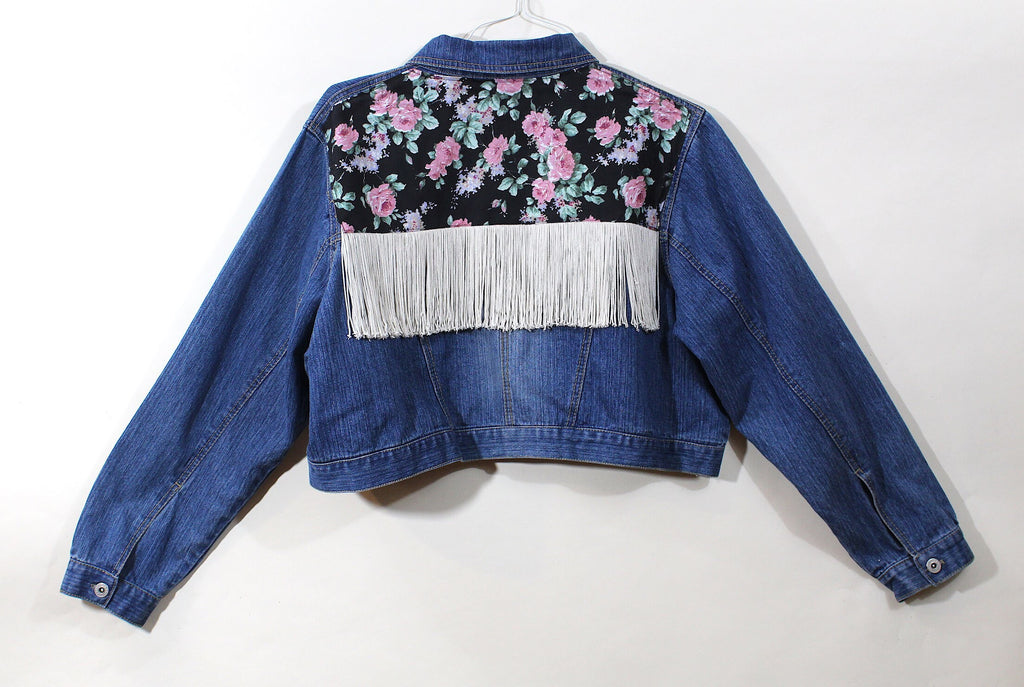 Crop Denim Jacket w/Floral and Fringe