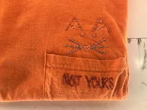 Not Yours/Cat Hand Embroidered Vintage Tre