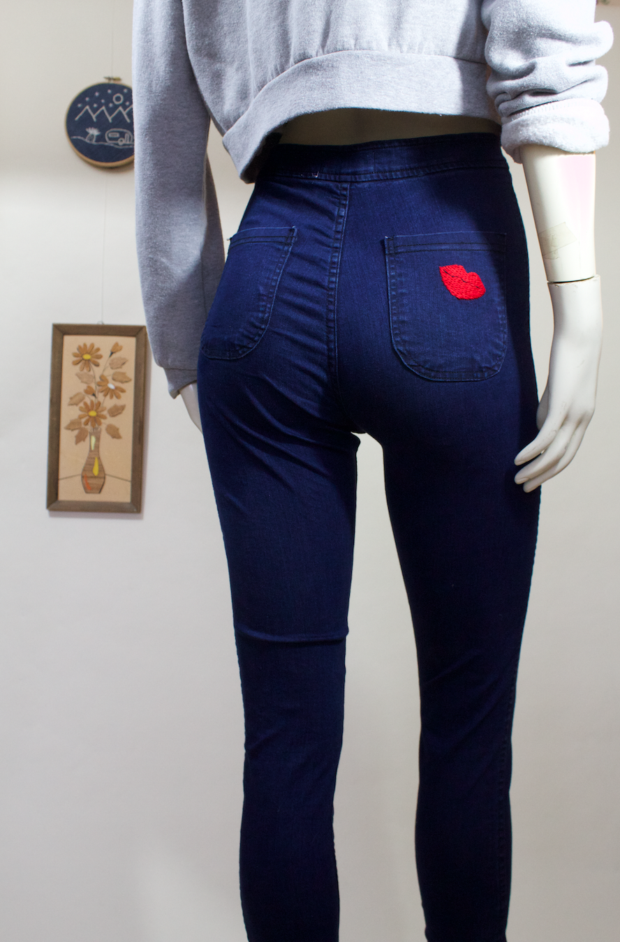 American Apparel Jeans w/Kiss Embroidery