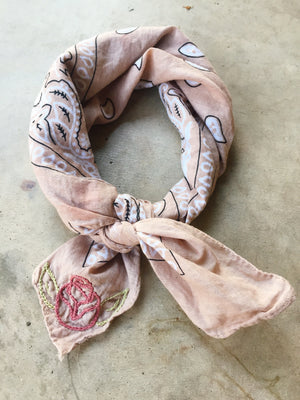 Dusty Rose, Rose Embroidered Bandana