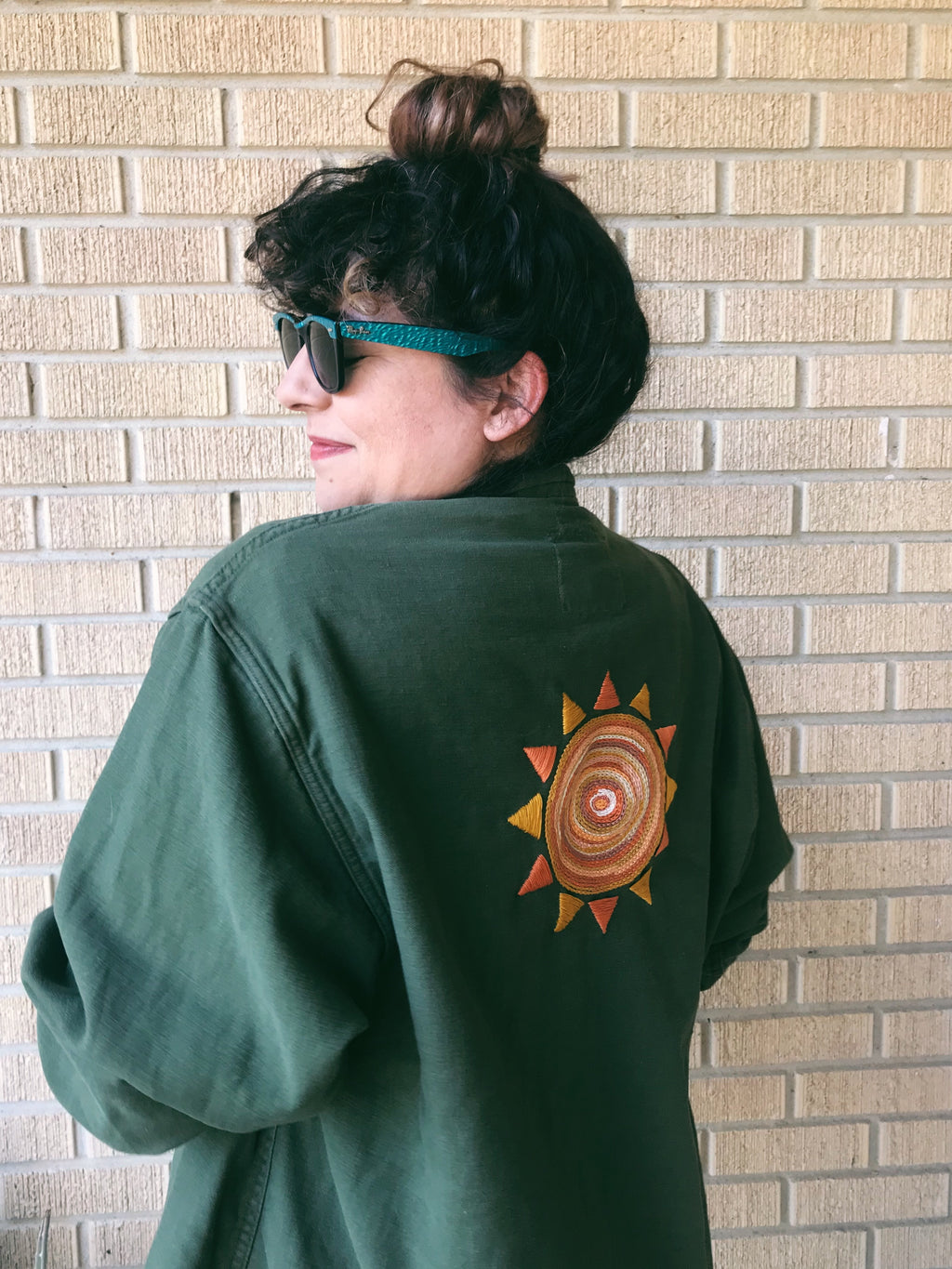 Vietnam Era Army Jacket with Sun Embroidery