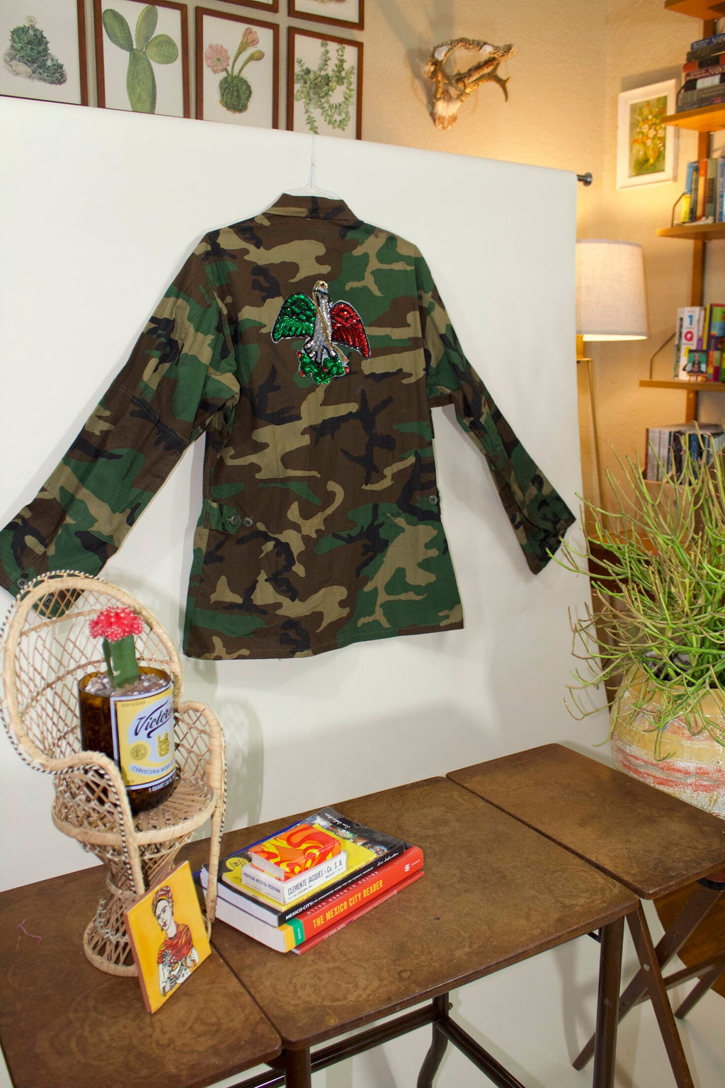 Military Camo Jacket w/Hand Sequined Mexican Patch