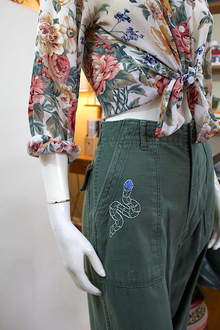 Vietnam Era Pants w/Snake Embroidery