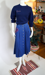 Denim Skirt w/Poppy Embroidery