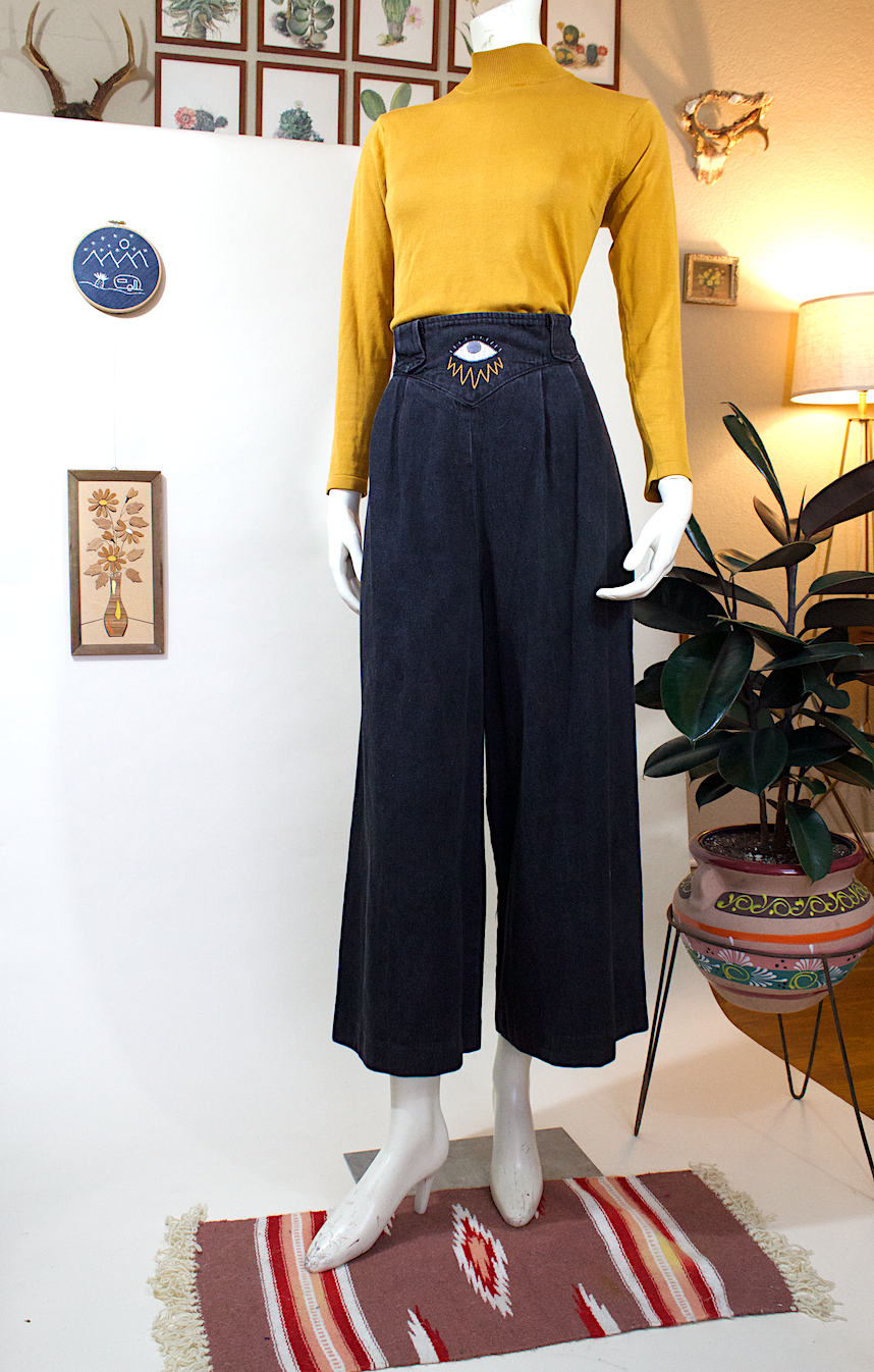 Black Culottes w/ Eye Embroidery