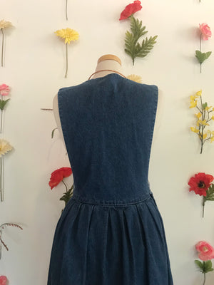 Vintage Denim Jumper with Sun Embroidery