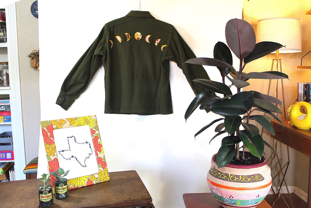 1950's Wool Military Shirt w/Moon Phase Appliqué