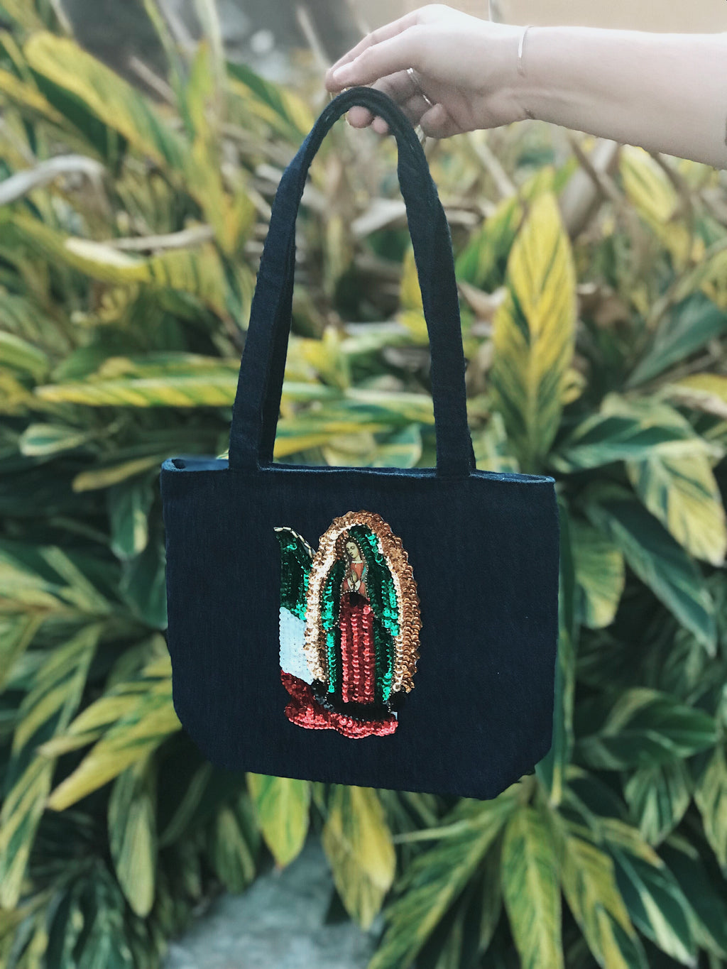 Vintage Denim Purse w/Mexican Flag Virgin Mary Sequin Patch
