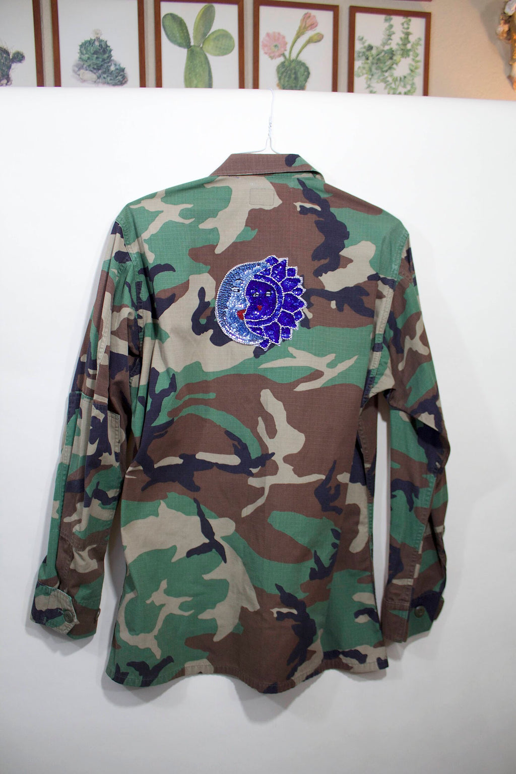 Military Camo Jacket w/Hand Sequined Sun & Moon Patch