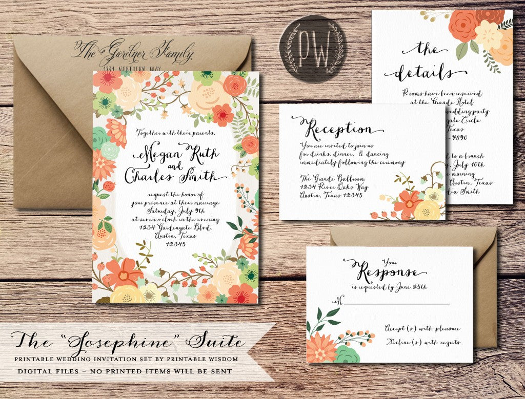 The Josephine Collection from Printable Wisdom Design