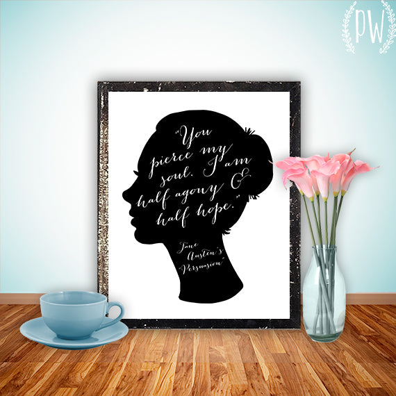 Literary Heroine Blog Party and Giveaway - Win a Jane Austen Persuasion printable from Printable Wisdom Design