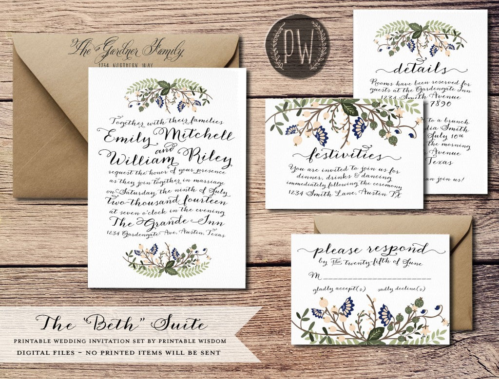 The Beth Suite from Printable Wisdom Design