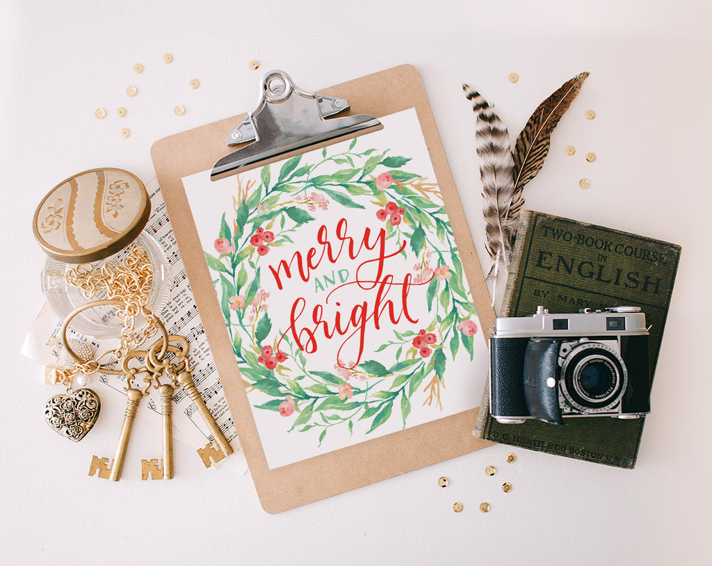 Merry & Bright Wreath, Printable