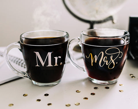 Mr. and Mrs. Glass Mugs