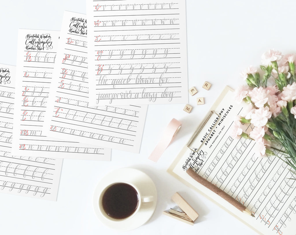 graphic relating to Printable Calligraphy Practice named Calligraphy Teach Sheets I