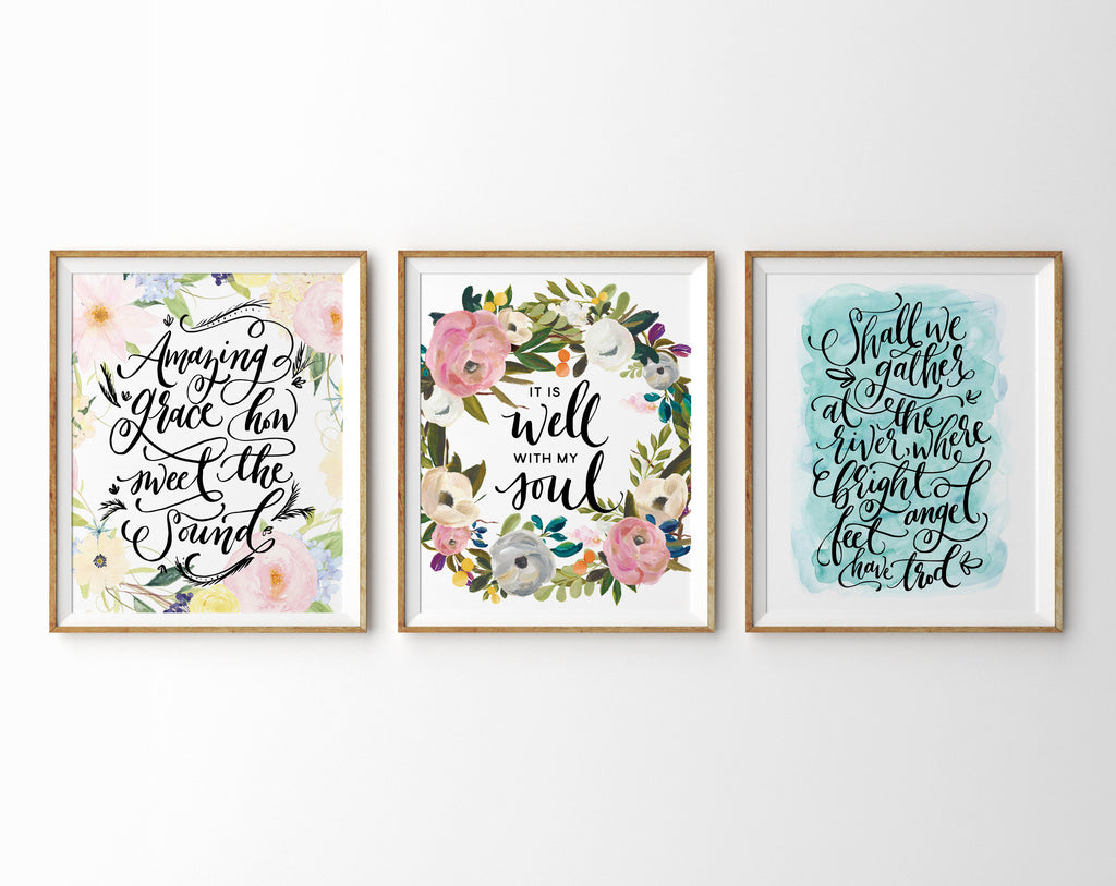 Hand Lettered Hymns, Set of Three