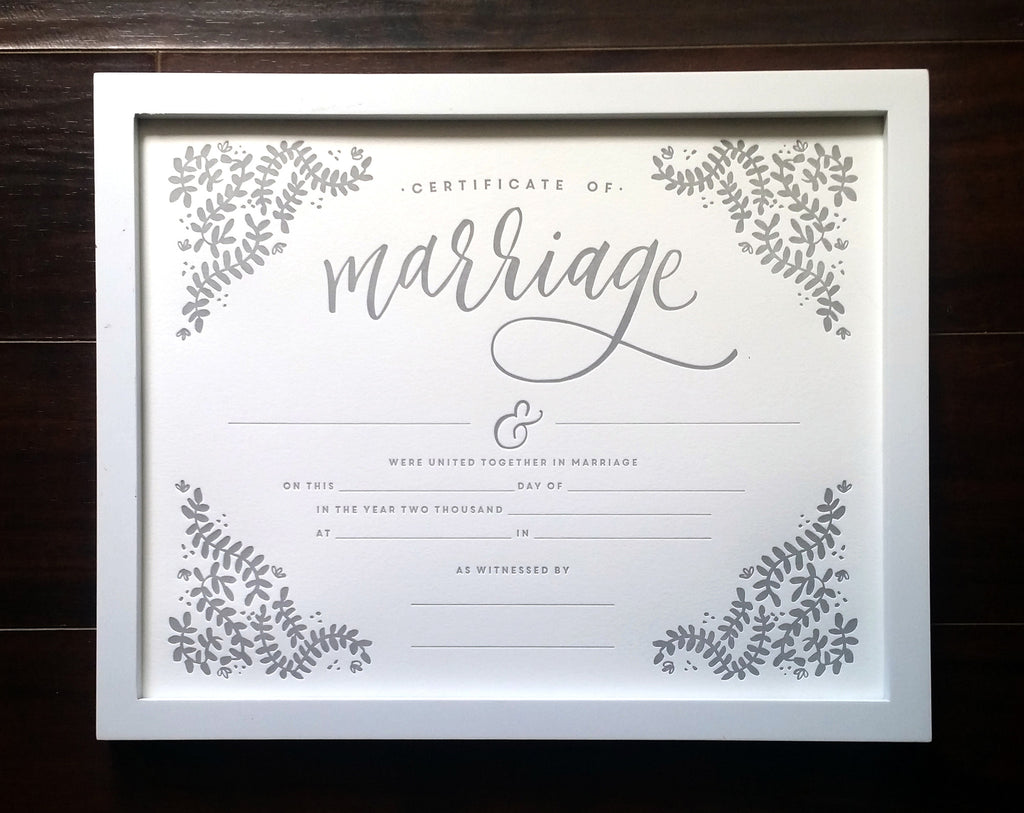 letterpress marriage certificate
