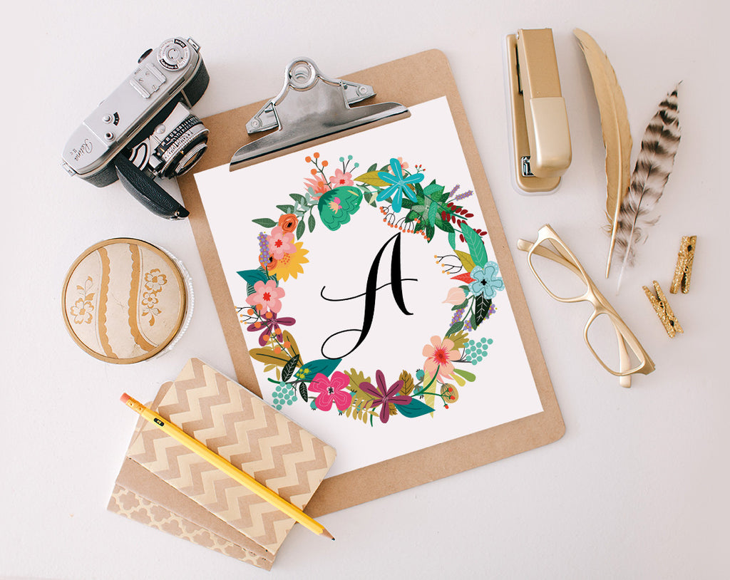 Bright Floral Wreath Monogram, Printable