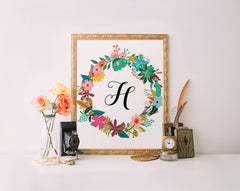 Bright Floral Wreath Monogram