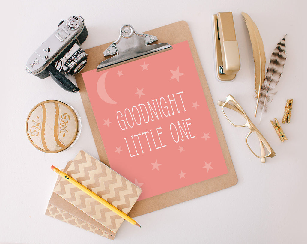 Goodnight Little One, Pink, Printable