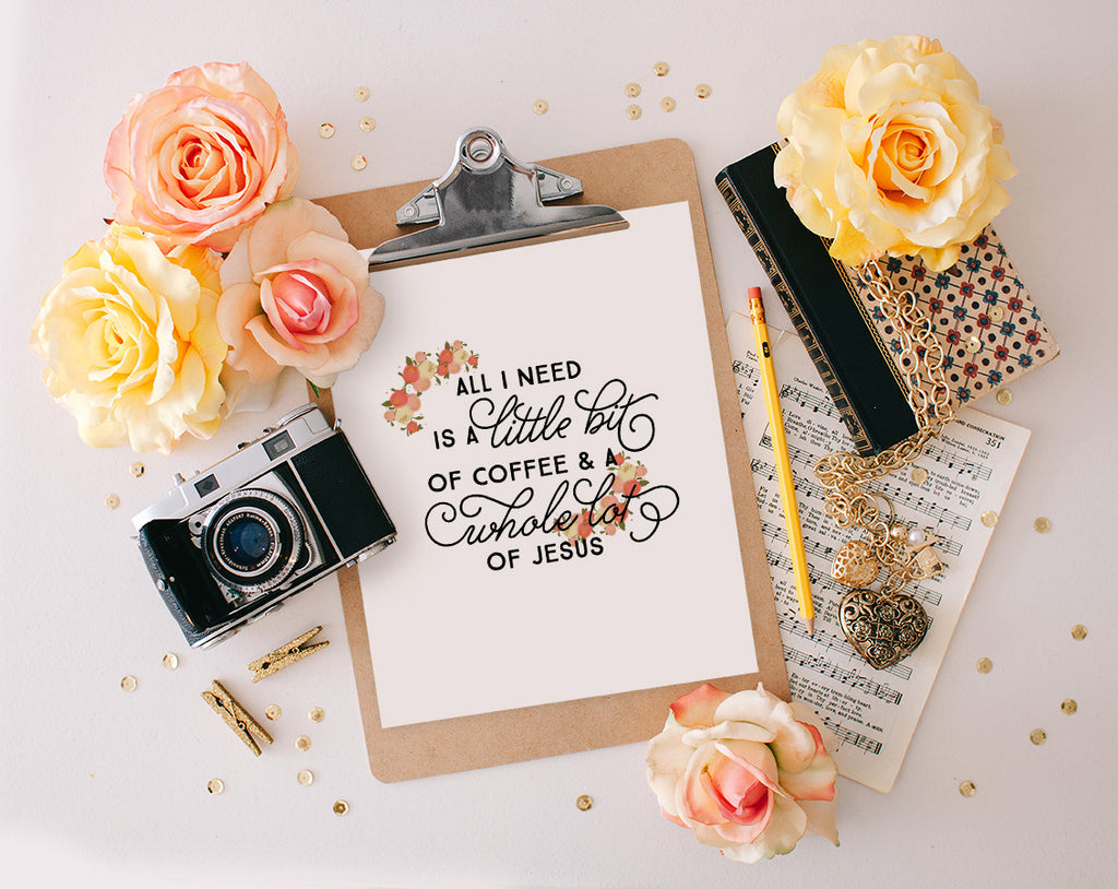 A little bit of coffee Floral, Printable