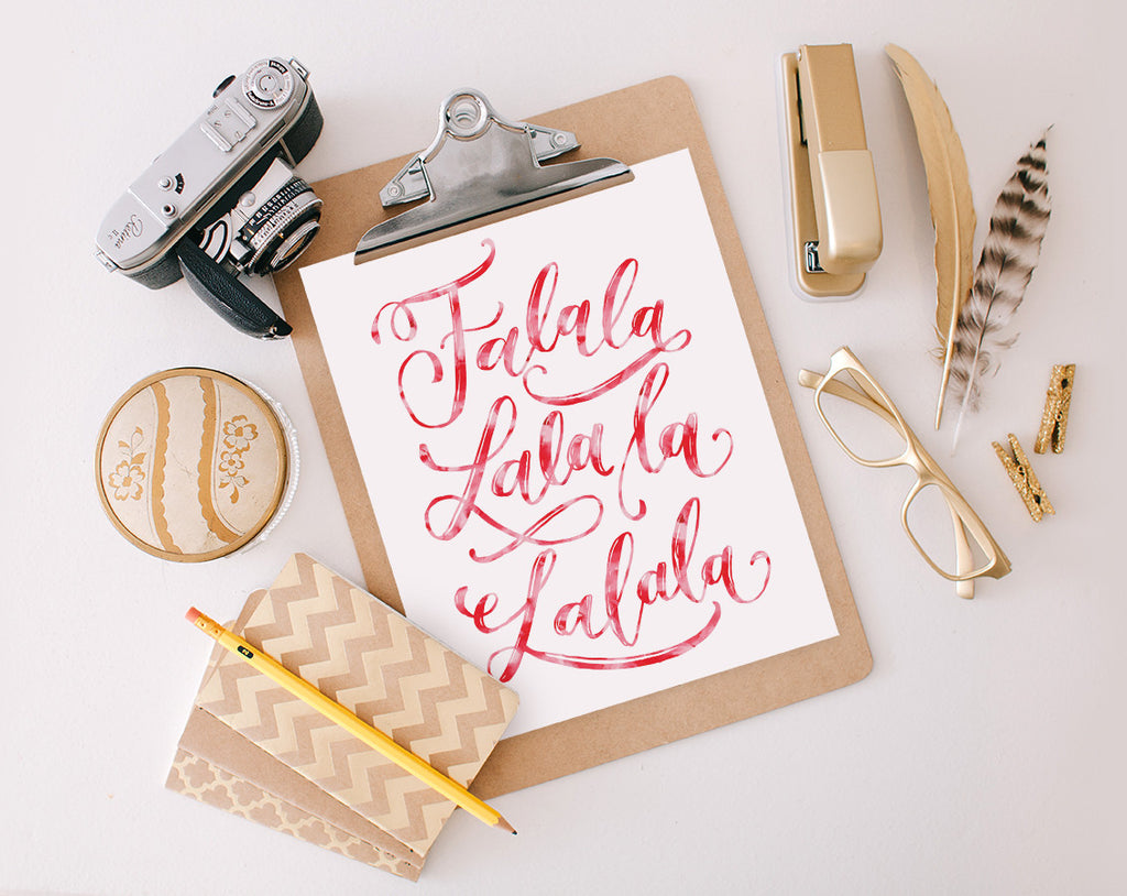 Fa-la-la-la-la Watercolor, Printable
