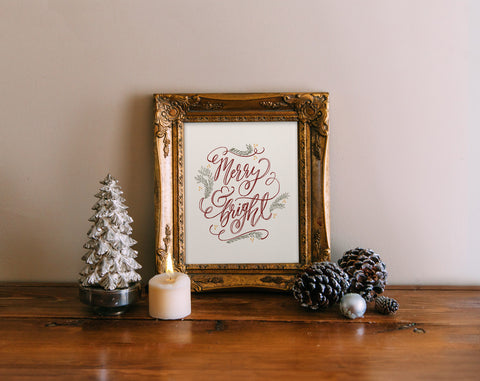 Merry & Bright, Hand lettered