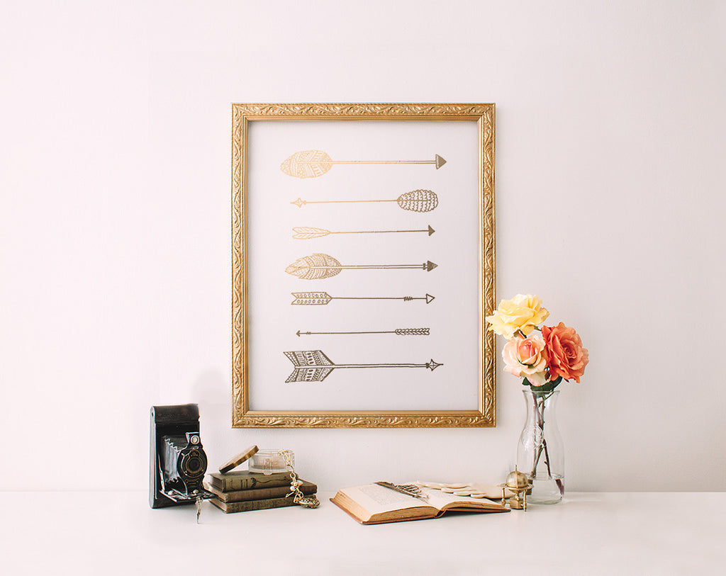 Gold Foil Arrow Print