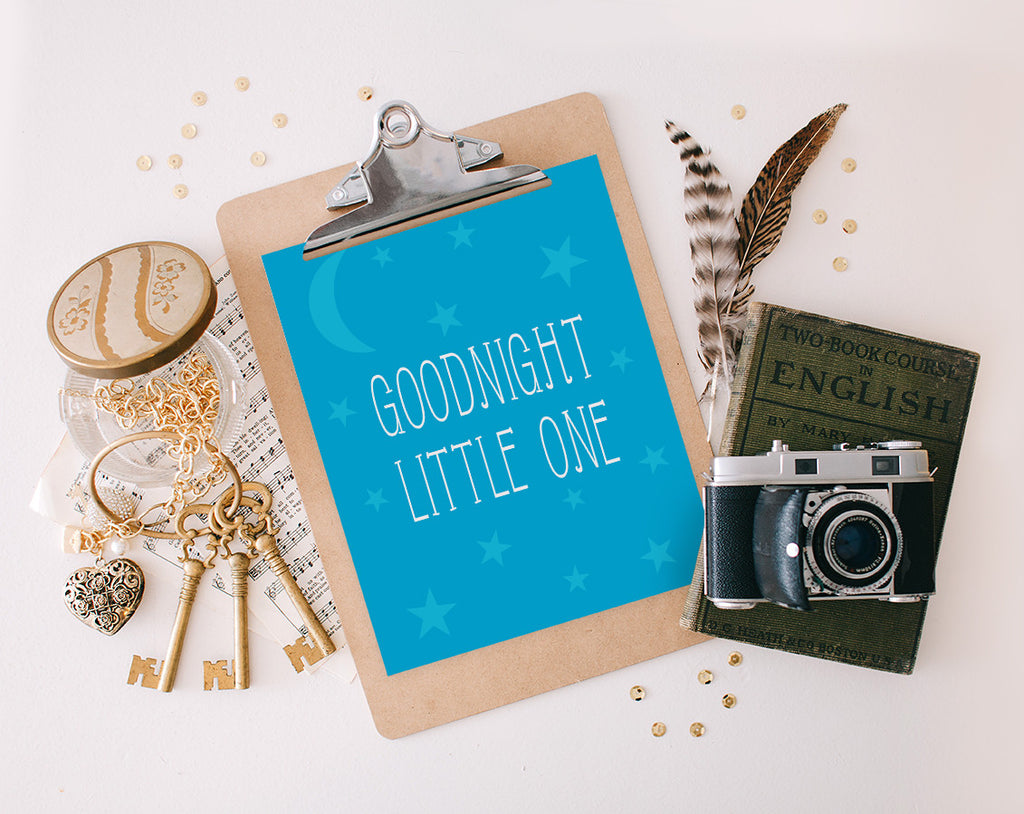 Goodnight Little One, Blue, Printable
