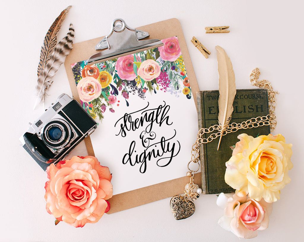 Strength & Dignity, Floral, Printable