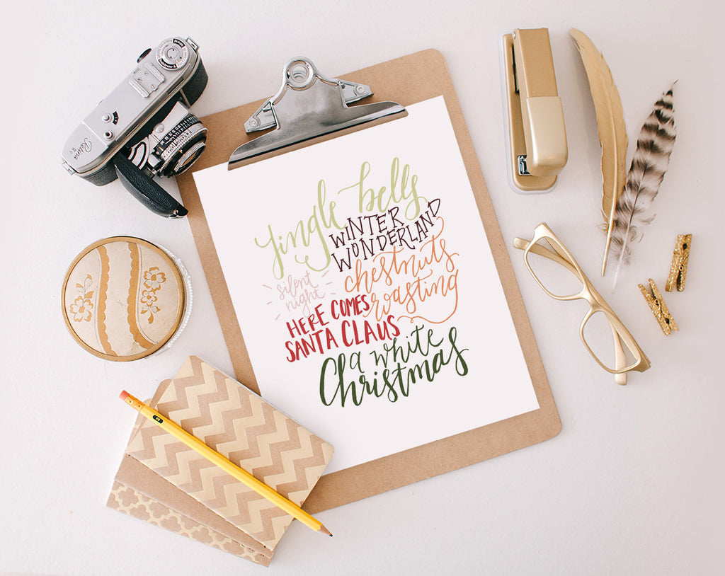 Hand Lettered Christmas Cloud, Color Printable