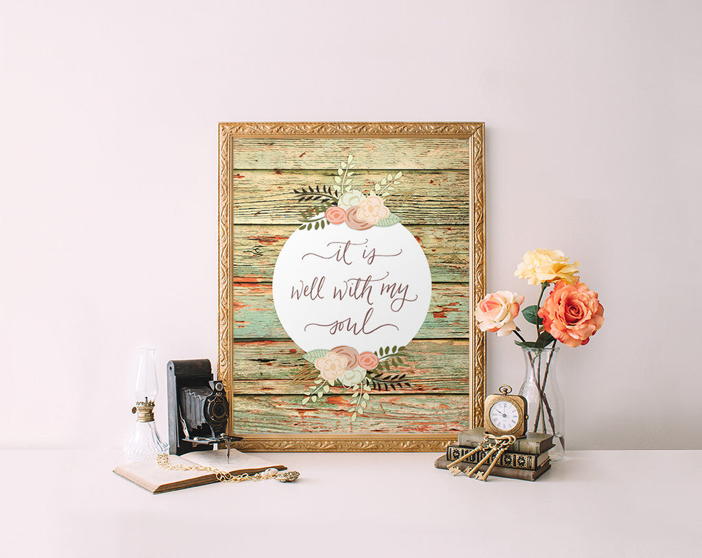 image about It is Well With My Soul Printable referred to as It is perfectly with my soul, Wooden Grain