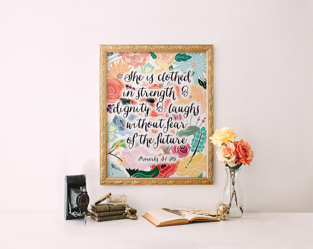 Proverbs 31:25, Floral