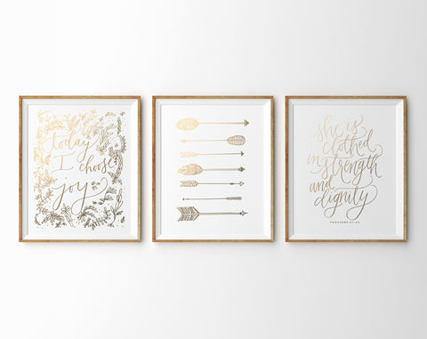 Gold Foil Prints, Set of Three