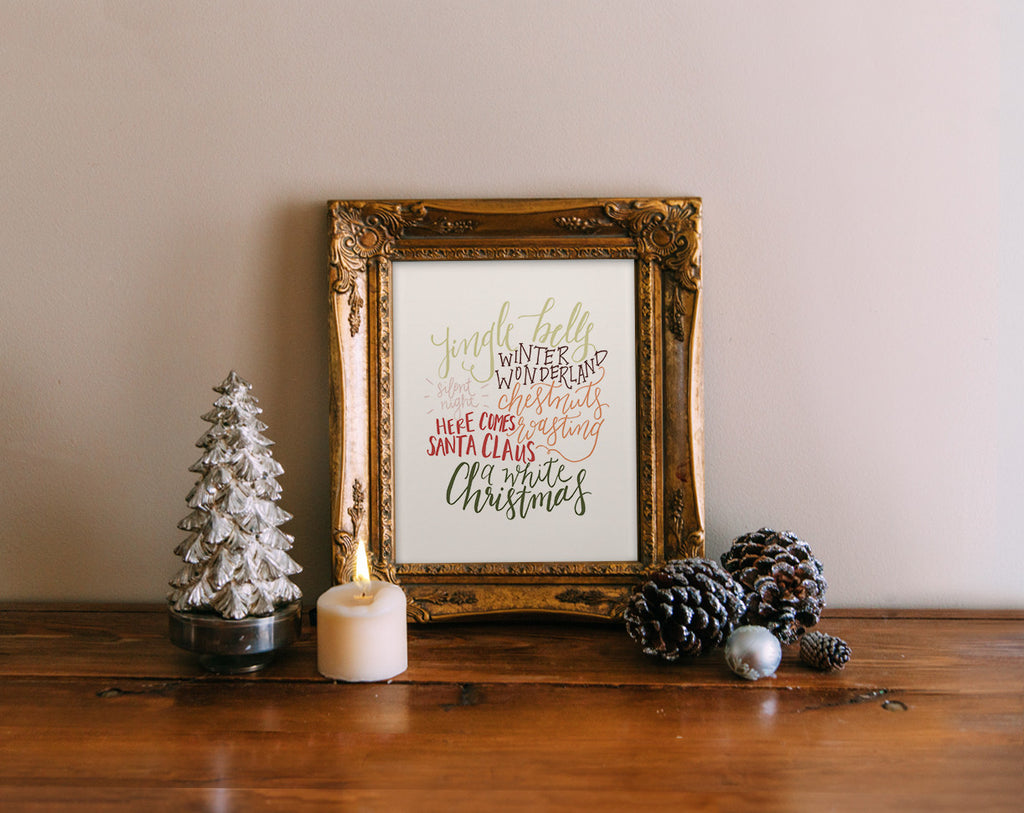 Hand Lettered Christmas Cloud, Color